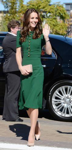 September 27, 2016 - Duchess Kate in green Dolce & Gabbana dress
