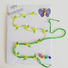 You can show how a cute 🐛caterpillar grows into a beautiful 🦋 butterfly thanks to and this fun DIY while learning 🤚 hand 👁… Motor Skills Activities, Toddler Learning Activities, Montessori Activities, Infant Activities, Preschool Activities, Kids Learning, Kids Crafts, Preschool Crafts, Home Schooling