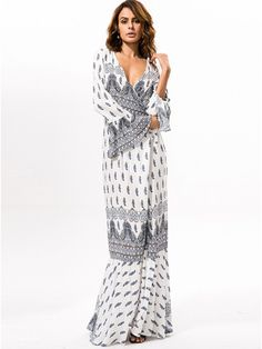 b8f886443d0 Bohemian Spring Loose Beach Summer Boho Paisley Dress Women 2017 New Year  Split Ethnic Vintage Maxi Dress Long Vestido V-Neck