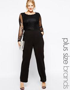 Combinaison grande taille par Truly You Top en dentelle transparente Pantalon…