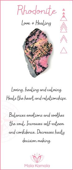 What is the meaning and crystal and chakra healing properties of rhodonite or black veined rhodonite? A stone for love and healing.