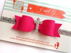 Baby/Child/Girl Felt Bow Headband Child Cross by JandGhandmade, $6.95