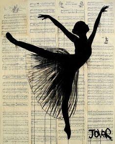 Ballerina image on vintage sheet music.