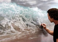 Painting the ocean. Joel Rea, Queensland, Australia. Featured at Art People Gallery.