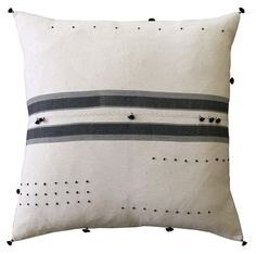 """By Injiri 100% khadi cotton with down/feather insert Dimensions: 24"""" x 24"""" Care:Hand wash separately, cold water & gentle soap, drip dry. Injiri home textil"""