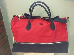 Tommy Hilfiger Duffle Travel Gym Bag Navy Blue/Red Shoulder Strap Spell Out #TommyHilfiger #DuffleGymBag