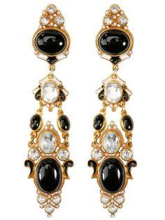 Onyx and pearl chandelier earrings by Percossi Papi. LoveMySwag.com #WorksOfArt, #PercossiPapi