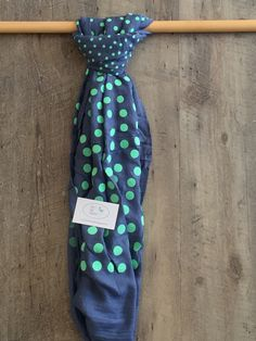 Scarf - Navy with green polka dots Flamingo, Scarves, Polka Dots, Dresses For Work, Navy, Green, Blue, Flamingo Bird, Scarfs
