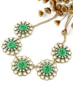 Gemstone Gold Chain Flawers Necklace