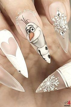 Disney Acrylic Nails, Best Acrylic Nails, Acrylic Nail Designs, Nail Art Designs, Disney Nail Designs, Cartoon Nail Designs, Stylish Nails, Trendy Nails, Cute Nails