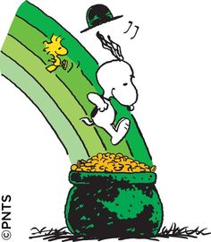 St. Patrick's Day - Snoopy and Woodstock's Leap into a Pot 'o Gold