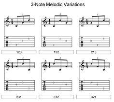 3 note melodic variation chart