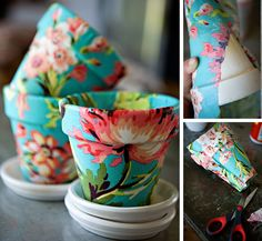 clay flower pot into something fab. decoupage turn ordinary clay flower pot into something fab. decoupage with fabric or fancy paper napkins and mod podge or white glue & watere with fabric or fancy paper napkins and mod podge or white glue & water Cute Crafts, Crafts To Do, Arts And Crafts, Diy Crafts, Creative Crafts, Simple Crafts, Diy Projects To Try, Craft Projects, Craft Ideas