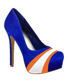 OMG!!!!!!!  LOVE THESE!!! Take a look at this Blue & Orange Florida Suede Pump by HERSTAR on #zulily today!