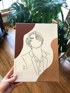 Outline Art, Outline Drawings, Art Drawings Sketches Simple, Pencil Art Drawings, Small Canvas Art, Mini Canvas Art, Canvas Artwork, Chevron Canvas Art, Kpop Drawings