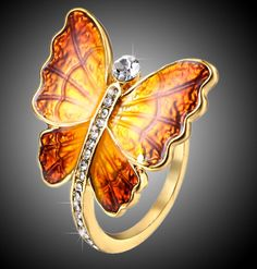 Fashion Crystal Circle Metal Printing Ring Party Gold Color Animal Insect Butterfly Rings For Gift Girlfriend Bracelets For Boyfriend, Cute Bracelets, Fashion Bracelets, Fashion Rings, Cute Promise Rings, Cute Rings, Butterfly Ring, Butterfly Jewelry, Butterfly Design