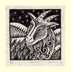 Capricorn (Dec22 - Jan19) Linoprint by Sarah Young