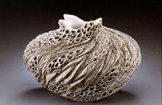 Anne Goldman Ceramics. Stunning textured ceramic vase. Beautiful intricate design in waves and ripples.