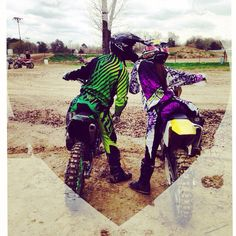 When you're not afraid to do what you love with the one who you love. #motocouple #love #motocross I even have that same riding gear!!