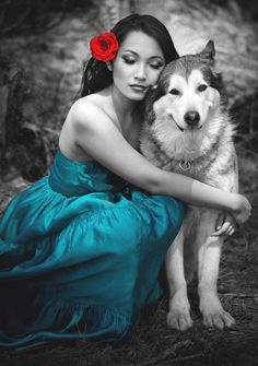 blue skirt,,,red flower,,,color splash,,,