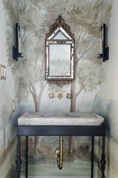 Magnificent bathroom design by Lauren Haskett with pastel landscape mural wallpaper made from original painting by Susan Harter. Muted and sophisticated colors in this beautifully inspiring interior design. Vintage Interior Design, Classic Interior, Home Interior, Bathroom Wallpaper, Of Wallpaper, Bathroom Mural, Wallpaper Ideas, Bathroom Ideas, Mirror Bathroom