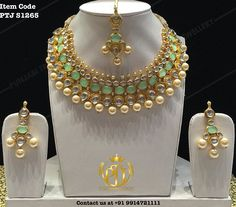 "Punjabi Traditional ""Gold Plated Kundan Set with Tika""(Next to Real) Item Code…"