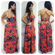 Long Dress - Flower - Orange - Summer - Vestido Longo - Floral - Estampa - Estampado - Verão