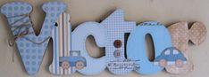 """Nome decorado em mdf e scrap personalizado para decoração de quarto, porta maternidade, festas... Tema e cores a sua escolha Estampa da letra """"V"""" e """"R"""" indisponíveis."""