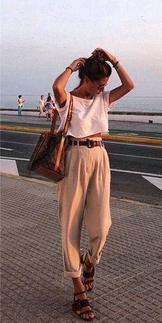 Womens Fashion - casual beautiful outfits high waisted belted trouser sandals white shirt t shirt tank crop top summer fashion Mode Outfits, Fashion Outfits, Womens Fashion, Fashion Hacks, Airport Outfits, College Outfits, Fashion Tips, Look Boho, Looks Style