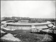 "New York, 1909. ""Polo Grounds, view from Coogan's Bluff (baseball)."""