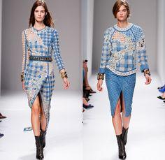 Balmain 2014 Spring Summer Womens Runway Collection - Paris Fashion Week - Pierre Balmain at Mode à Paris - Denim Jeans Embroidery Houndstoo...