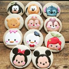 These Disney Tsum Tsum cookies were made by Cookie Cowgirl.  They feature adorable Tsum Tsum versions of Goofy, Pluto, Stitch, Winnie the Pooh, Dale, Chip, Daisy Duck, Donald Duck, Ariel, Minnie Mouse, and Mickey Mouse.