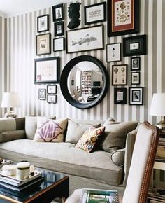 gallery wall and striped wallpaper? yes please. #frames #mirror #wallpaper #stripes