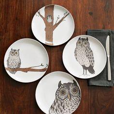 Owl Dessert Plate Set
