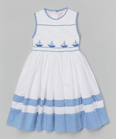 Emily Lacey White Smocked Sailboat Dress - Infant, Toddler & Girls | zulily
