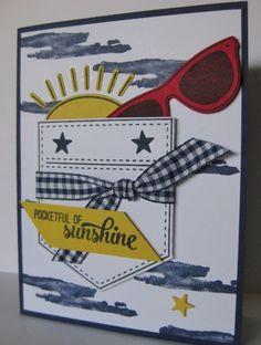 Barb Mann Stampin' Up! Demonstrator - SU - Pocketful of Sunshine, Burlap, Waterfront - masculine - summer Pocket Full Of Sunshine, Kids Birthday Cards, Pocket Cards, Creative Cards, Beach Themes, Stampin Up Cards, I Card, Hand Stamped, Holiday Cards