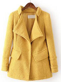 Abrigo de lana solapa bolsillos manga larga-Amarillo EUR€41.74