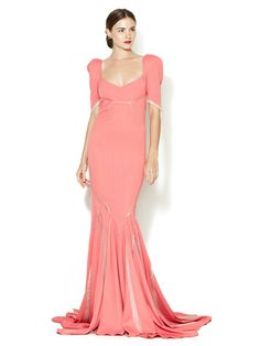 Fluted Sheer Seam Gown by Zac Posen on Gilt.com