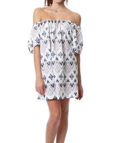 Bringing The Vibes Dress - White Print - Piin   ShopPiin.com #festival #cochella