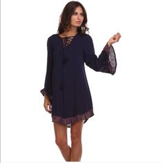 Tea & Cup Navy Embroidery  Tunic Dress! Size small Size small dress is 100% cotton!  Dresses are not for trade or bundles but watch for sales! Tea n Cup Dresses Long Sleeve