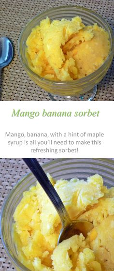A gluten and dairy free sorbet, using mango and banana for a refreshing taste
