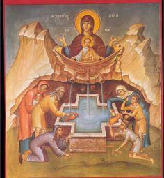 Theotokos of the Life-Giving Spring Byzantine Icons, Byzantine Art, Religious Icons, Religious Art, Black Jesus, Russian Icons, Catholic Kids, Orthodox Christianity, Orthodox Icons