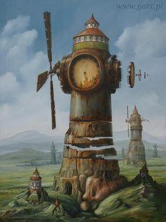 Art Surrealism - Jaroslaw Jasnikowsi - Dolina Ksenomorficznych Wiatraków