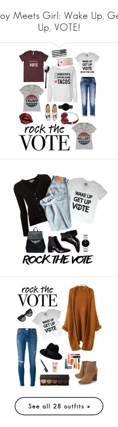 """""""Boy Meets Girl: Wake Up, Get Up, VOTE!"""" by boymeetsgirlusa ❤ liked on Polyvore featuring boymeetsgirl, TOMS, CLUSE, Casetify, Beats by Dr. Dre, Michael Kors, Sole Society, Movado, rockthevote and Frame"""
