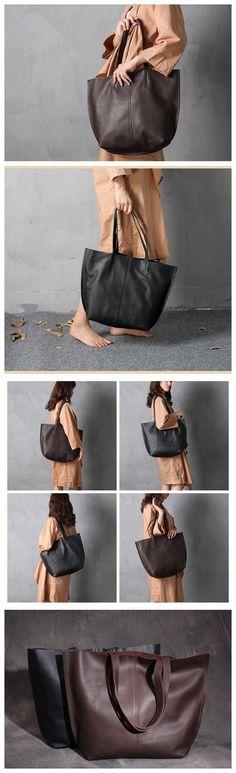 Handmade Women's Fashion Full-Grain Leather Tote Bag Ladies Handbag Shopping Bag XL003