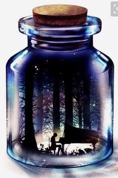 Illustrations by Harada Miyuki Music improves your life in many different ways :) Fantasy Landscape, Fantasy Art, Japon Illustration, Digital Illustration, Photo D Art, Anime Scenery, Bottle Art, Galaxy Wallpaper, Pretty Art