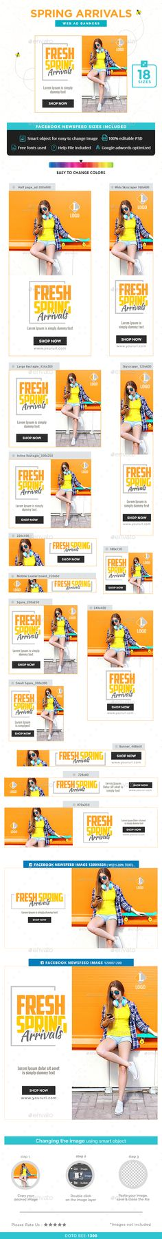 Spring Arrivals Web Banners Template PSD. Download here: http://graphicriver.net/item/spring-arrivals-banners/15701960?ref=ksioks