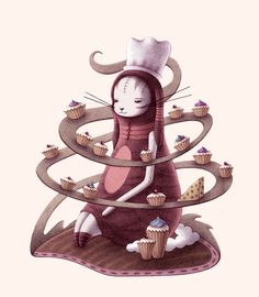 Bunny with Cupcakes and Cheese by o0Amphigory0o.deviantart.com on @deviantART