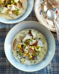 smoked trout (or whitefish) chowder, paired with a light, fruity chardonnay!
