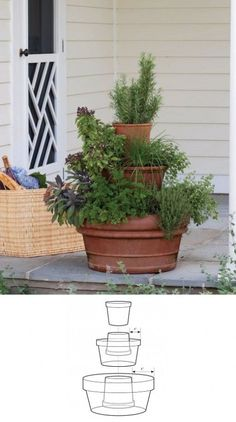 This is how to make a vertical garden design for planting a tower of herbs at home. It is a great space utilization idea. Picture only, no instructions included... but hey, if you don't know how to pot plants then this project isn't for you!